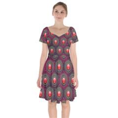 Abstract Circle Gem Pattern Short Sleeve Bardot Dress by Wegoenart