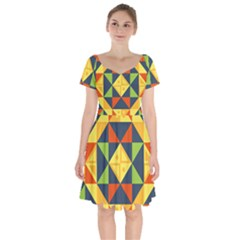 Background Geometric Color Short Sleeve Bardot Dress by Wegoenart