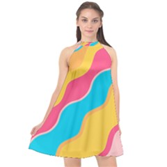 Cake Color Palette Painting Halter Neckline Chiffon Dress  by Wegoenart
