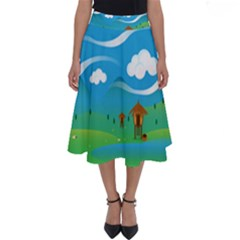 Landscape Nature Mountain Field Perfect Length Midi Skirt by Wegoenart