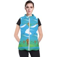 Landscape Nature Mountain Field Women s Puffer Vest