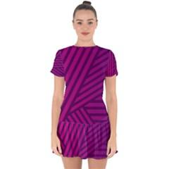 Pattern Lines Stripes Texture Drop Hem Mini Chiffon Dress by Wegoenart