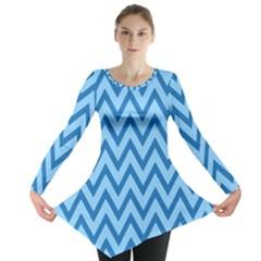 Blue Chevron Background Abstract Pattern Long Sleeve Tunic  by Wegoenart