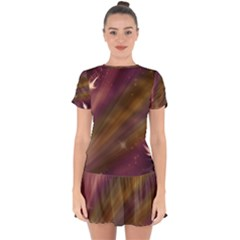 Space Orbs Stars Abstract Sky Drop Hem Mini Chiffon Dress by Wegoenart