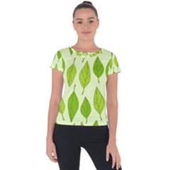 Autumn Background Boxes Green Leaf Short Sleeve Sports Top  by Wegoenart