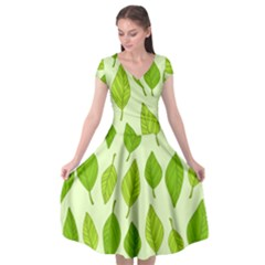Autumn Background Boxes Green Leaf Cap Sleeve Wrap Front Dress by Wegoenart