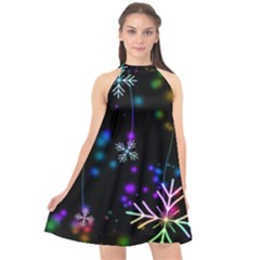 Snowflakes Snow Winter Christmas Halter Neckline Chiffon Dress  by Wegoenart