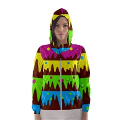 Illustration Abstract Graphic Hooded Windbreaker (women)