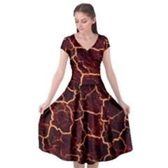 Lava Cracked Background Fire Cap Sleeve Wrap Front Dress by Wegoenart