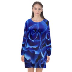 Blue Roses Flowers Plant Romance Long Sleeve Chiffon Shift Dress  by Wegoenart