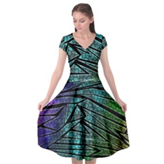 Abstract Background Rainbow Metal Cap Sleeve Wrap Front Dress by Wegoenart