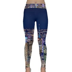 New York Manhattan Night Building Classic Yoga Leggings by Wegoenart
