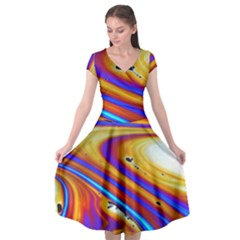 Soap Bubble Color Colorful Cap Sleeve Wrap Front Dress by Wegoenart