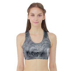 Abstract Ice Frost Crystals Frozen Sports Bra With Border by Wegoenart