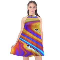 Abstract Architecture Background Halter Neckline Chiffon Dress  by Wegoenart