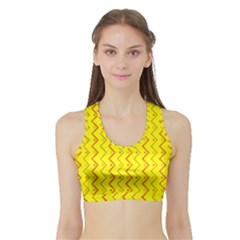 Yellow Background Abstract Sports Bra With Border by Wegoenart