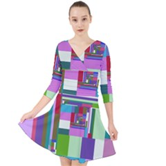 Fractal Gradient Colorful Infinity Art Quarter Sleeve Front Wrap Dress by Wegoenart