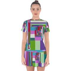 Fractal Gradient Colorful Infinity Art Drop Hem Mini Chiffon Dress by Wegoenart