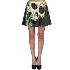 Screaming Skull Human Halloween Skater Skirt by Wegoenart
