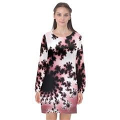 Fractal Pattern Pink Long Sleeve Chiffon Shift Dress  by Wegoenart