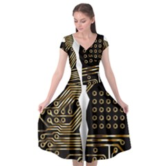 Brain Circuit Board Pcb Computer Cap Sleeve Wrap Front Dress by Wegoenart