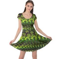 Fractal Gradient Colorful Infinity Cap Sleeve Dress