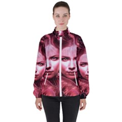 Portrait Woman Red Face Pretty High Neck Windbreaker (women) by Wegoenart
