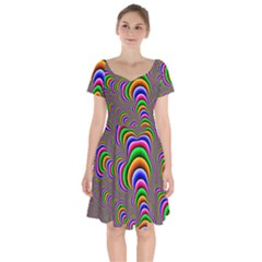 Fractal Background Pattern Color Short Sleeve Bardot Dress by Wegoenart