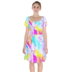 Background Drips Fluid Colorful Pattern Short Sleeve Bardot Dress