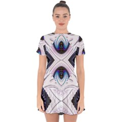 Patterns Fractal Background Digital Drop Hem Mini Chiffon Dress by Wegoenart