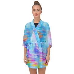 Background Drips Fluid Colorful Half Sleeve Chiffon Kimono by Wegoenart