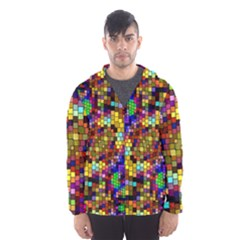 Color Mosaic Background Wall Hooded Windbreaker (men) by Wegoenart