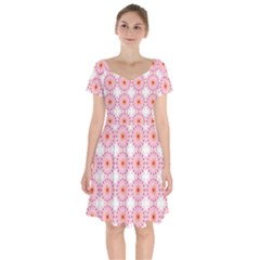 Make A Wish Banner Fractals Pink Short Sleeve Bardot Dress by Wegoenart