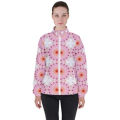 Make A Wish Banner Fractals Pink High Neck Windbreaker (women) by Wegoenart