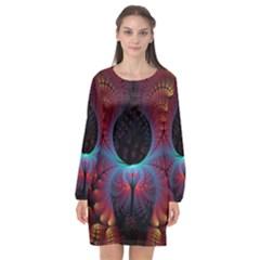 Abstract Abstracts Geometric Long Sleeve Chiffon Shift Dress  by Wegoenart