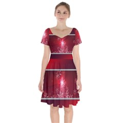 Christmas Candles Short Sleeve Bardot Dress by Wegoenart