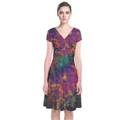 Pattern Background Wallpaper Short Sleeve Front Wrap Dress by Wegoenart