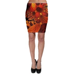 Leaf Autumn Nature Background Bodycon Skirt by Wegoenart
