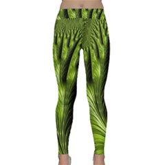 Fractal Background Abstract Green Classic Yoga Leggings by Wegoenart