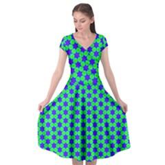 Background Pattern Structure Cap Sleeve Wrap Front Dress by Wegoenart