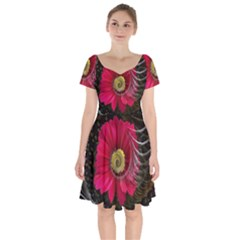 Fantasy Flower Fractal Blossom Short Sleeve Bardot Dress by Wegoenart