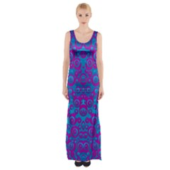 The Eyes Of Freedom In Polka Dot Maxi Thigh Split Dress by pepitasart