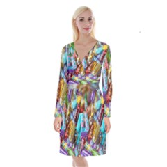 Unicorn Rave Long Sleeve Velvet Front Wrap Dress by WensdaiAddamns