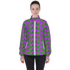 The Happy Eyes Of Freedom In Polka Dot Cartoon Pop Art High Neck Windbreaker (women) by pepitasart