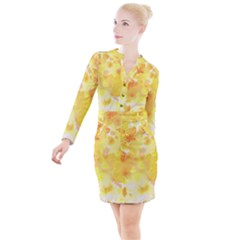 Yellow Party Button Long Sleeve Dress by TimelessFashion