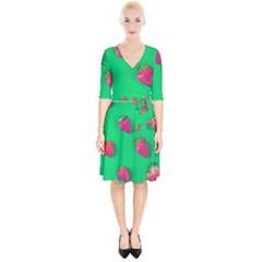 Strawberry Green Wrap Up Cocktail Dress by WensdaiAddamns