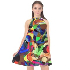 Artistic Chaos Halter Neckline Chiffon Dress  by TimelessFashion