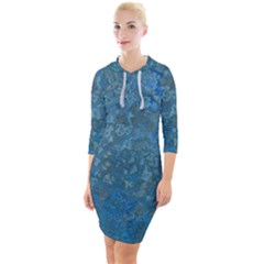 Beautifull Blue Quarter Sleeve Hood Bodycon Dress by TimelessFashion