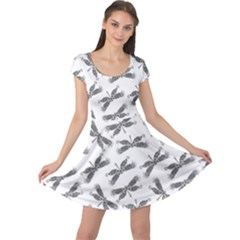 Beautifull Dragonfly Black White Cap Sleeve Dress
