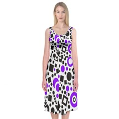 Black Versus Purple Midi Sleeveless Dress
